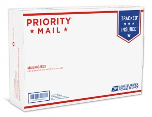 The stylish new priority mail boxes.